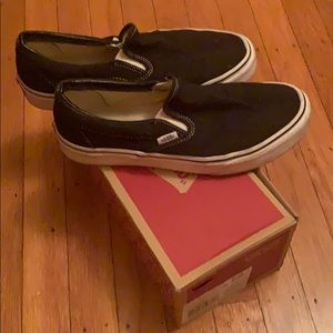 Black slip on vans, men's size 8, women's 10